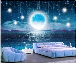 3d foto tapete nach wandbild wasser steigt helle mond schöne nacht himmel landschaft decor wohnzimmer tapete für wände 3 d