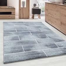 designer teppich modern kurzflor steinwand optik stein mauer grau weiß