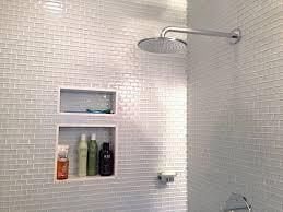 modern white subway tile bathroom black stainless steel handle two
