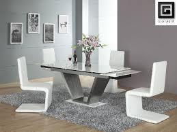 Viva White Contemporary Marble Extending Dining Table