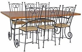 table rectangulaire chêne et fer forgé 6 chaises