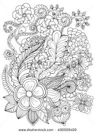 Fantasy Flowers Coloring Page Hand Drawn Doodle Floral Patterned Vector Illustration African