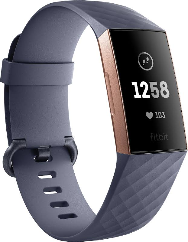 Fitbit Charge 3 Activity Tracker + Heart Rate, Blue Gray/Rose Gold