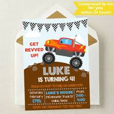 Monster Truck Invitation / Monster Truck Birthday Invitation / | Etsy Free Printable Birthday Cards With Monster Trucks Awesome Blaze And The Machines Invitations Templates List Truck Party 50 Unique Ideas Cookie Free Pvc Invites Vip Invitation Novel Concept Designs Mud Thank You Card Truck Party Printable