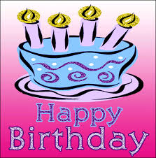 Cool blue sparkling Happy Birthday Cake animation on hot pink background