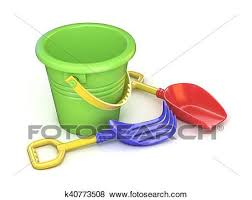 Toy Bucket Rake And Spade 3D Render Illustration Isolated On White Background