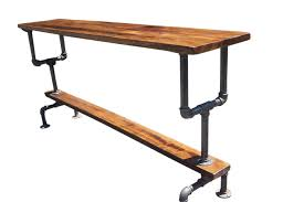 Industrial Style Bar Height Table With Metal Pipe Base And