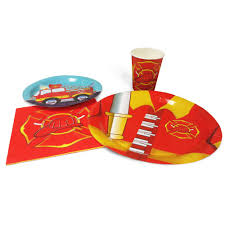 100 Fire Truck Birthday Party Blue Orchards Standard Packs 65 Pieces For 16 Guests Engine Tableware Sets