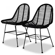 Amazon.com - VidaXL 2X Dining Chair Natural Rattan Wicker Black ...