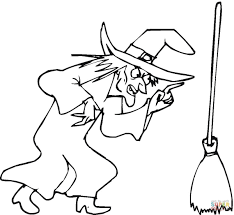 Witches Coloring Pages Witch And Her Broom Page Free Printable Images