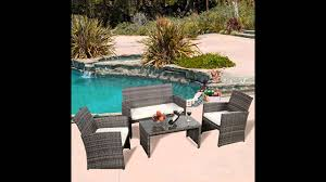 Outsunny Patio Furniture Assembly Instructions by Ghp Outdoor Garden Patio 4 Piece Cushioned Seat Mix Gray Wicker