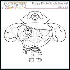 Puppy Pirate Digital Lineart Stamp Commercial Use License Included By SanqunettiDesigns On Etsy