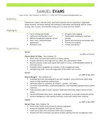 Professional Restaurant Server Resume Fast Food Example Objective