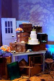 Wedding Cake And Cupcake Display Out Of Vintage Crates Shabby Chic Table Doors