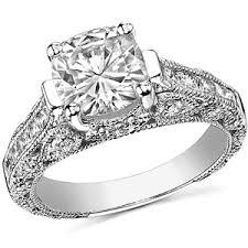 Antique Style Cushion Milgrain Moissanite Engagement Ring