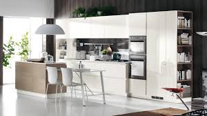 Awesome Kitchen Design With Cream Cabinetry And Beige Island Also Simply White Table