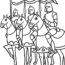 Several Knights On Horseback Coloring Page