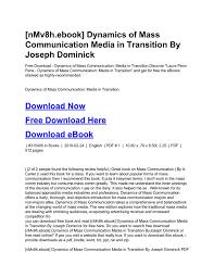 NMv8hebook Dynamics Of Mass Communication Media In Transition By Joseph Dominick PDF