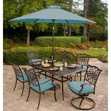 7 Piece Patio Dining Set With Umbrella by Traditions 7 Piece Dining Set With 72 X 38 In Cast Top Table