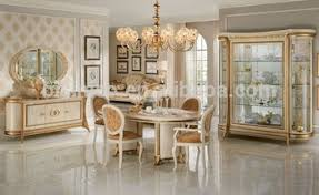 Luxury European Rococo Style Golden Color Dining Room Set Italian Wooden TableMOQ