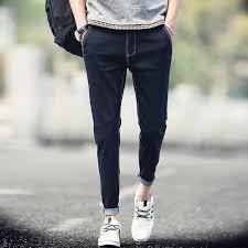 New 2016 Summer Jeans Homme Solid Black Blue Ankle Length Men Fashion Boys Denim