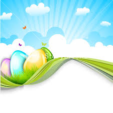 Happy Easter Celebrations Poster Design With Glossy Eggs On Nature Background