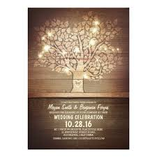 String Lights Rustic Tree Wedding Invitations