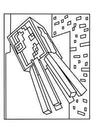 Squid And Spider Minecraft Coloring Pages