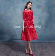 Oumeiya OED549 Real Pictures Elegant Red Lace Vintage Tea Length Cocktail Girl Party Wear Western Dress