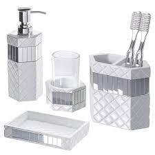 Crackle Glass Bathroom Set by Amusing Mirror Bathroom Accessories Sets With Bath Set Mosaic