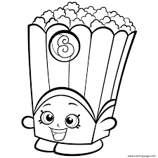 Popcorn Box Poppy Corn Shopkins Season 2 Coloring Pages Printable