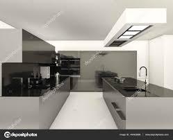 Modern White Kitchen Interior 3d Rendering Stockfoto Und 3d Rendering Modern Style With Reflect Material Kitchen 140423866