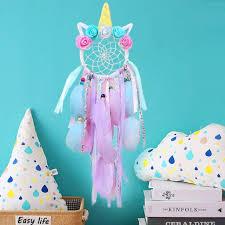 einhorn traumfänger dreamcatcher mit federn handgemachte blume rosa traumfänger für mädchen schlafzimmer wandbehang dekoration