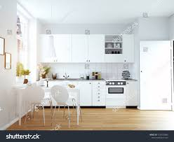 Modern White Kitchen Interior 3d Rendering Stockfoto Und Modern Cozy Kitchen Interior 3d Rendering Stock Illustration