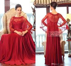 ruby arabic plus size evening dresses red sheer neck long sleeve