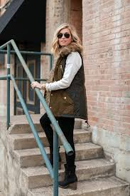 Military Vest With Fur Black Leggings Combat Boots Winter Outfit Idea