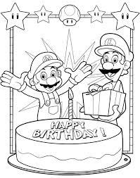 Super Mario Bros Happy Birthday Coloring Page Printable