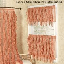 Sears Sheer Lace Curtains by Cascade Sheer Voile Ruffled Tier Window Treatment