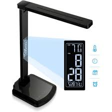 Who Makes Ledu Lamps by Lorell 99768 Lcd Clock Display Led Desk Lamp Led Black Desk