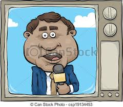 Tv News Reporter A Cartoon On The Screen Of Retro