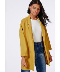 missguided moxie oversized crepe boyfriend blazer mustard in green