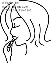 Clipart Illustration Of Girl Putting On Lipstick Coloring Page
