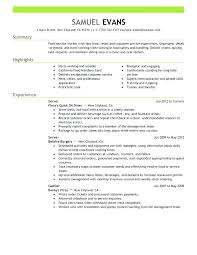 Restaurant Server Experience Resume Examples Sample Resumes Fast Food Manager Fine