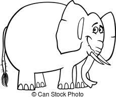 Cute Elephant Cartoon For Coloring Book