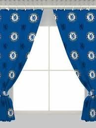 details zu neu chelsea fc gardinen paar 168x137cm jungen kinder blau fuß schlafzimmer
