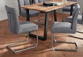 esszimmerstuhl 2er set mit federkern grau material kunstleder polyurethan edelstahl brasilia b mca furniture