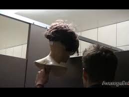 chester the mannequin peeking into bathroom stalls prank gun