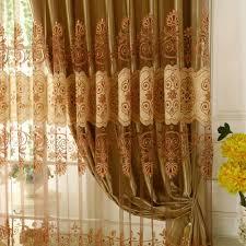 klassisch gardine gold jacquard luxus im wohnzimmer