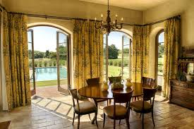 French Doors Curtain Dining Room Mediterranean With Earth Tone Colors Clear Shade
