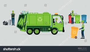 Garbage Truck Driver Recycle Bins Stock Vector (Royalty Free ...